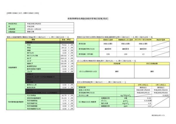 平成28年 篠原工場 維持管理記録簿のサムネイル