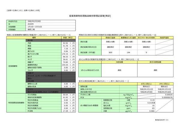 令和2年 篠原工場 維持管理記録簿のサムネイル