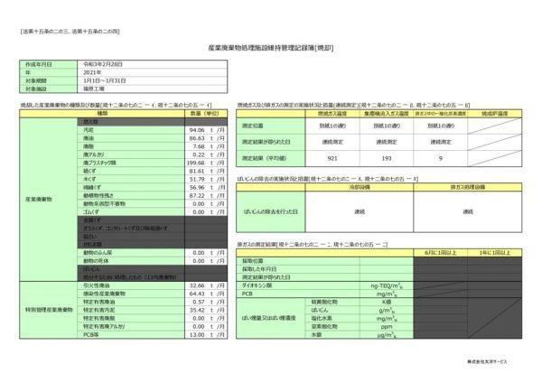 令和3年 篠原工場 維持管理記録簿のサムネイル